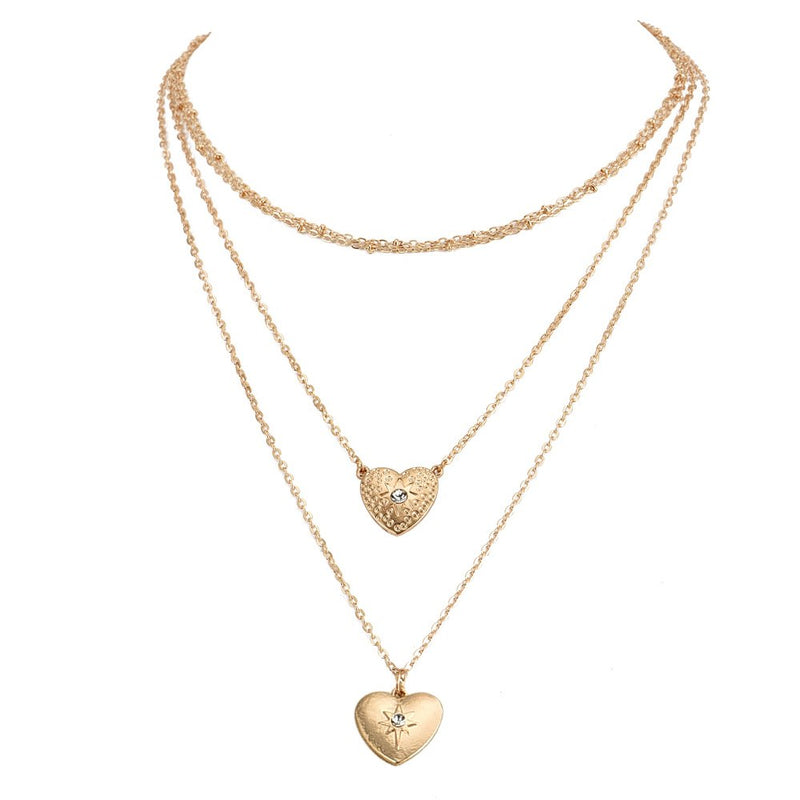 b6982ff37bd50 Women Trendy Choker Crystal Heart Chain Pendant Multilayer Necklace Boho  Party Wedding Simple Jewelry Accessories