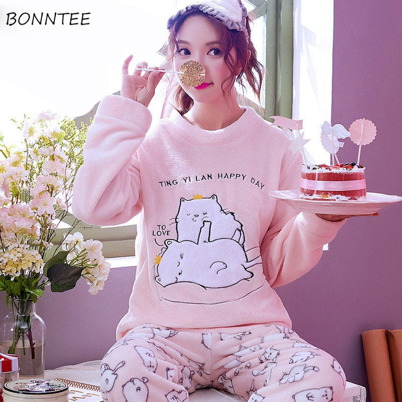 70a7139e7d Pajama Sets Women 2018 New Cute Cartoon Embroidered Printed O-Neck Trendy Long  Sleeve Womens