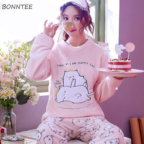 1611c85a9a Pajama Sets Women 2018 New Cute Cartoon Embroidered Printed O-Neck Trendy Long  Sleeve Womens Pajamas Leisure Daily Home Clothing