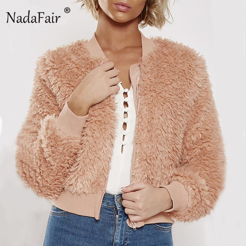 Nadafair 2018 autumn winter faux shearling short jacket coat women zipper soft plush casual solid teddy coats female outerwear