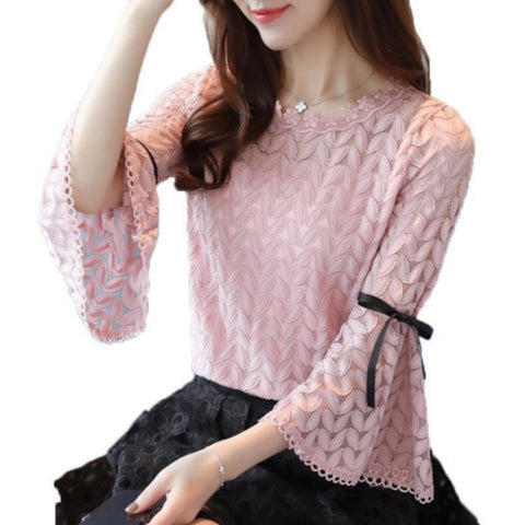 6a55e649e099a 2018 Spring Fashion Solid Lace Shirts Women Blouses Long Sleeve O-neck  Hollow Out Bow Flare Sleeve Shirt Women Tops Lace Blouse