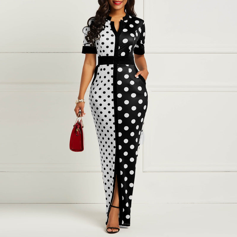21c1d9c3dc39 Vintage Bodycon Dress Women 2019 Fashion Black White Polka Dot Bandage  Split Skinny Office Lady Elegant