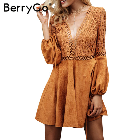 6d4447263d9d BerryGo Sexy v neck backless suede lace dress women Hollow out flare sleeve  lace up winter dress Autumn dress party robe femme. $32.99. boho maxi ...
