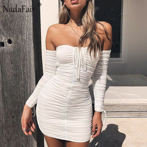 Nadafair Long Sleeve Off Shoulder Slash Neck Ruched Women Sexy Bodycon Club  Party Dresses White Black dae94d66e