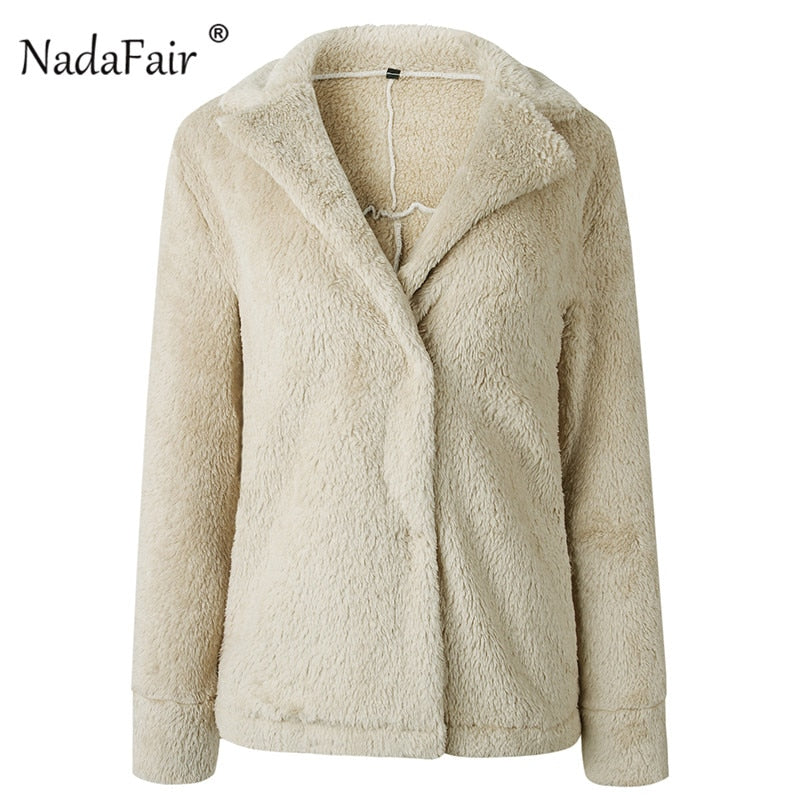 Nadafair winter loose lamb faux fur jacket coat women 2018 warm thicken plush teddy coat female solid outerwear oversize