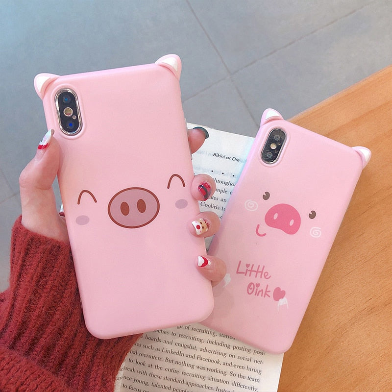 Funny Cartoon Smile Pig Phone Case For iphone 7 8 6s 6 Case Fashion Cute Nose Soft Cover For iphone XR XS Max X Back Cases Capa