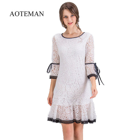 53acd495fce AOTEMAN Summer Autumn Women Dress Hollow Out Elegant White Lace Flare  Sleeve Dress Female Vintage Sweet Dresses Plus Size 4XL