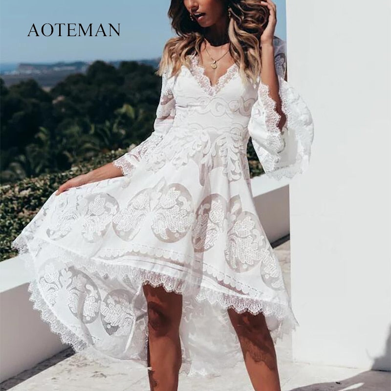 11b65e8b3c20d AOTEMAN Summer Dress Women 2019 Sexy Elegant Slim Deep V-Neck Lace Dresses  Fashion Ladies Hollow Out White Party Dress Vestidos