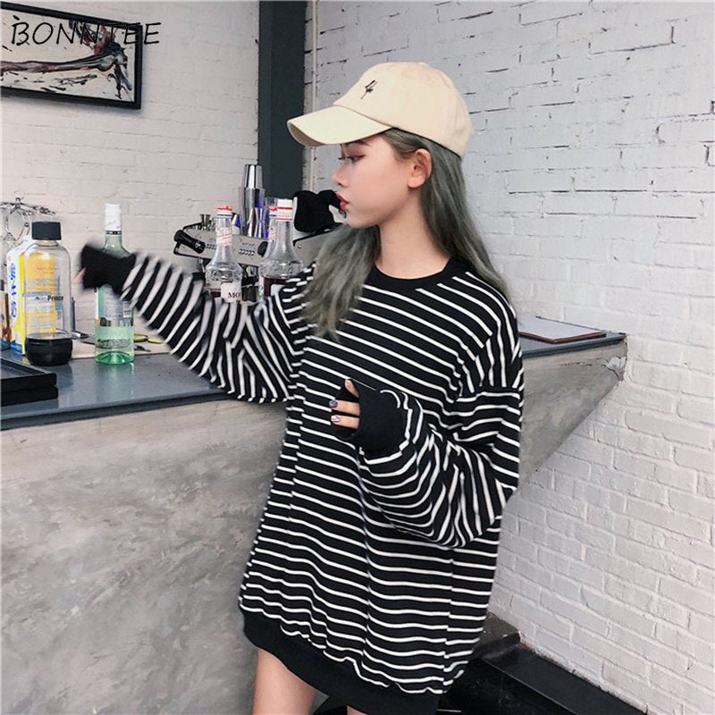 Hearty Hoodies Zipper Striped Trendy Loose Women All-match Chic Sweatshirts Korean Style Long Sleeve Casual Womens Pullover Students Women's Clothing