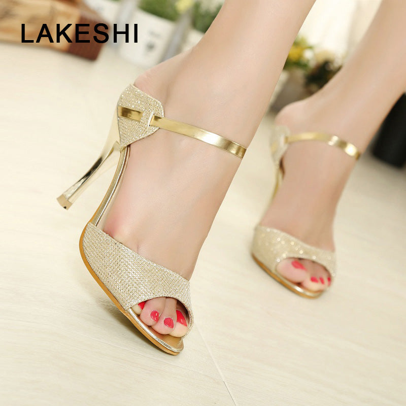 Women Sandals Fashion High Heels Women Sheos Gold Silver Buckle Ladies Shoes Summer Comfort Female Sandalias Plus Size 41
