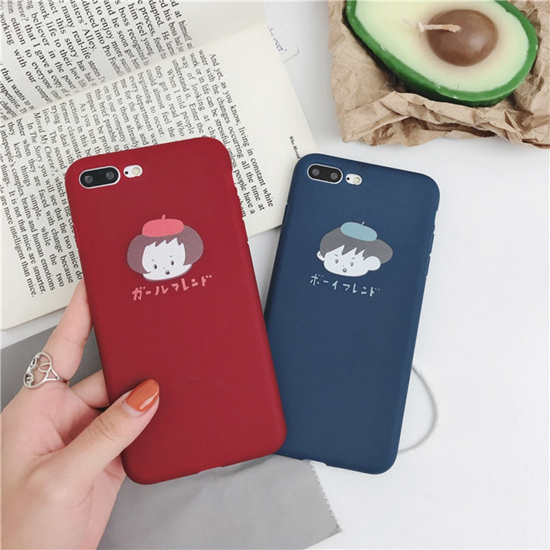 57bda9bc3f Cute Cartoon Couples Phone Case For iphone XS Max XR X Case For iphone 6 6s