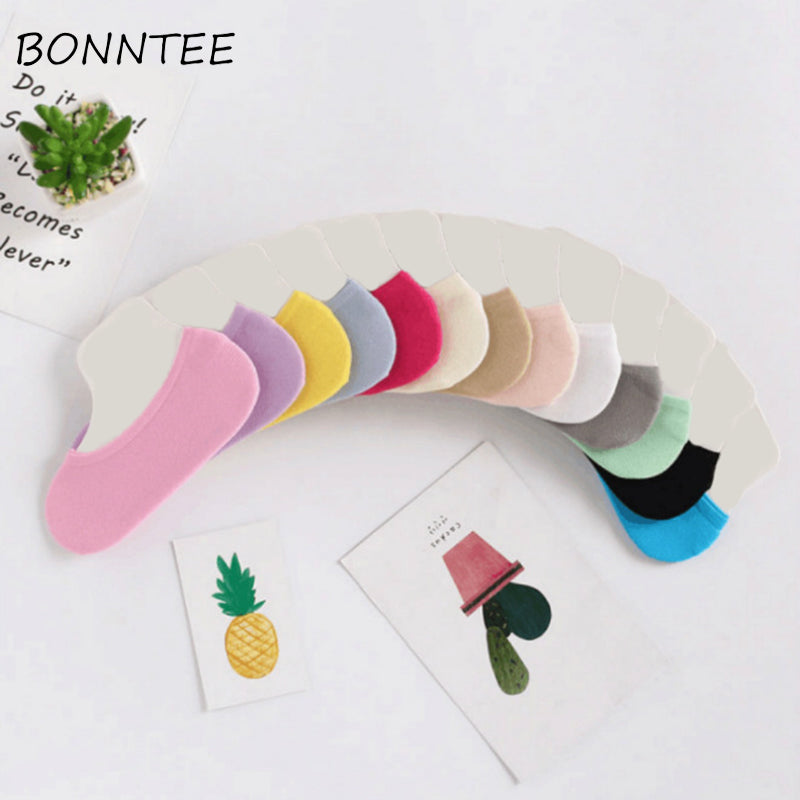 Socks Women Invisible Kawaii Candy Color Solid Korean Style Breathable Thin High Elasticity Womens Summer Sock Fashion Casual