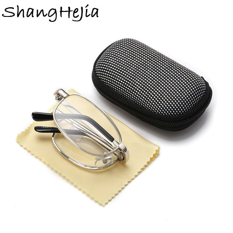 Design Reading Glasses Men Women Folding  Spectacles Spectacles  Frame Silver Metal Glasses  +1.0 +1.5 +2.0 +2.5 +3.0 +3.5 +4.0