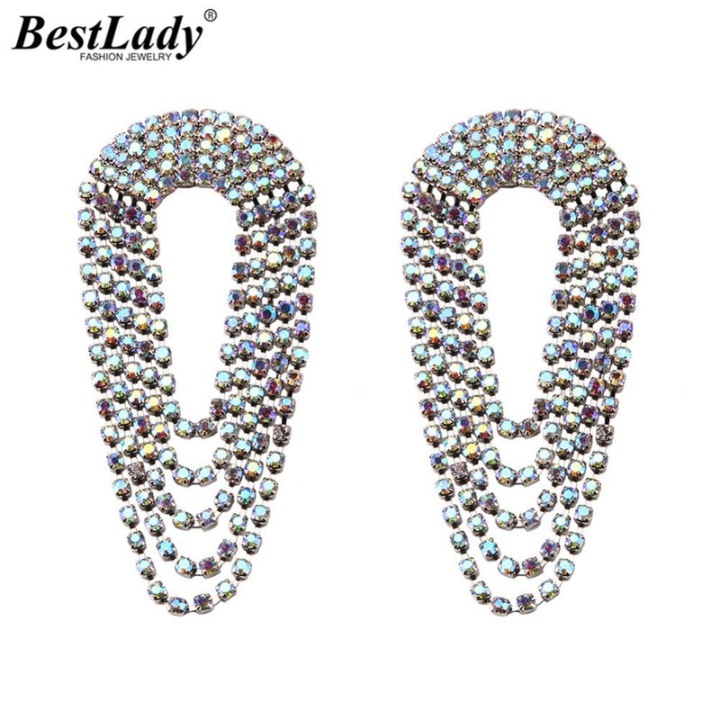 3d01b6223 Best lady Boho Fashion Glass Drop Earrings For Women Shiny Long Pendant  Fringed Earrings Jewelry Wedding