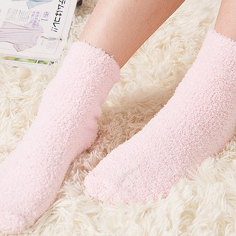 f5a3f9e40 Womens Cute Candy Color Coral Velvet Socks Women Fluffy Winter Warm Home  Indoor Floor Terry Sock