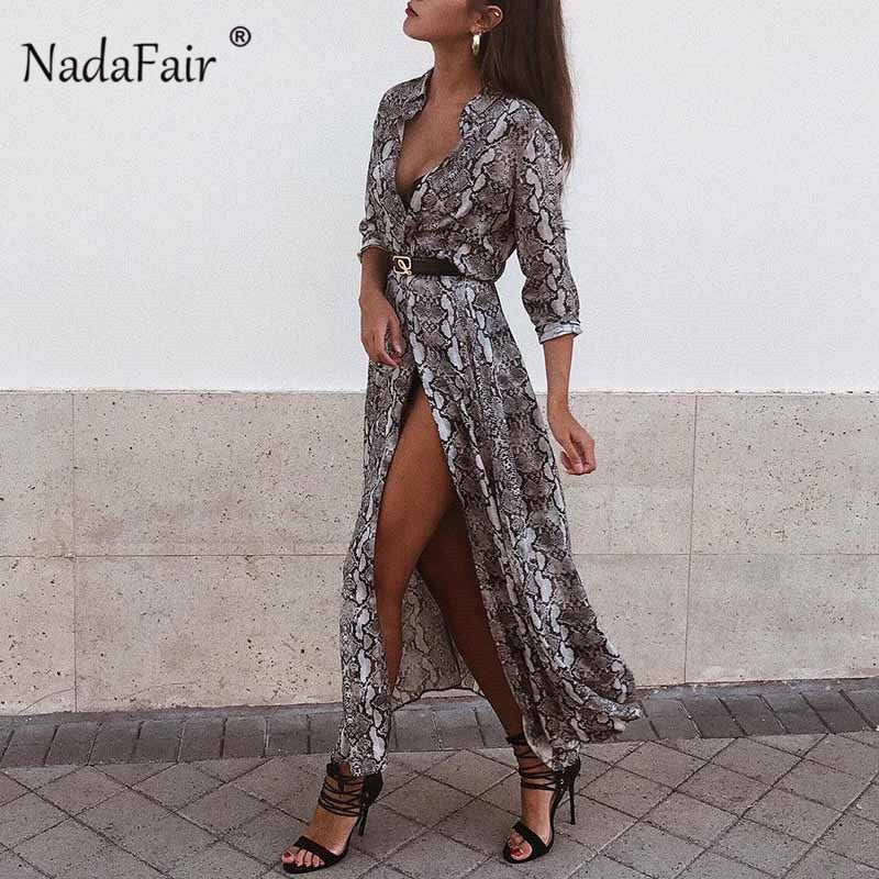 ad2bb2b12ada Nadafair snake print long dress women 2019 long sleeve animal print vintage  dress single-breasted