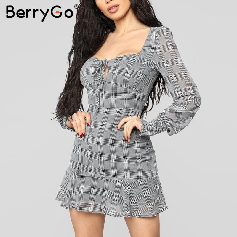 sexy bodycon dresses women dress Plaid  Summer long sleeve ruffle lace up dresses Elegant office ladies mini vestidos