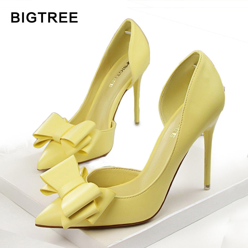 BIGTREE Fashion Women Pumps Sexy High Heels Wedding Shoes Pointed Toe Dress Shoes Female 2018 Women Heel Shoes pink 7 Colors