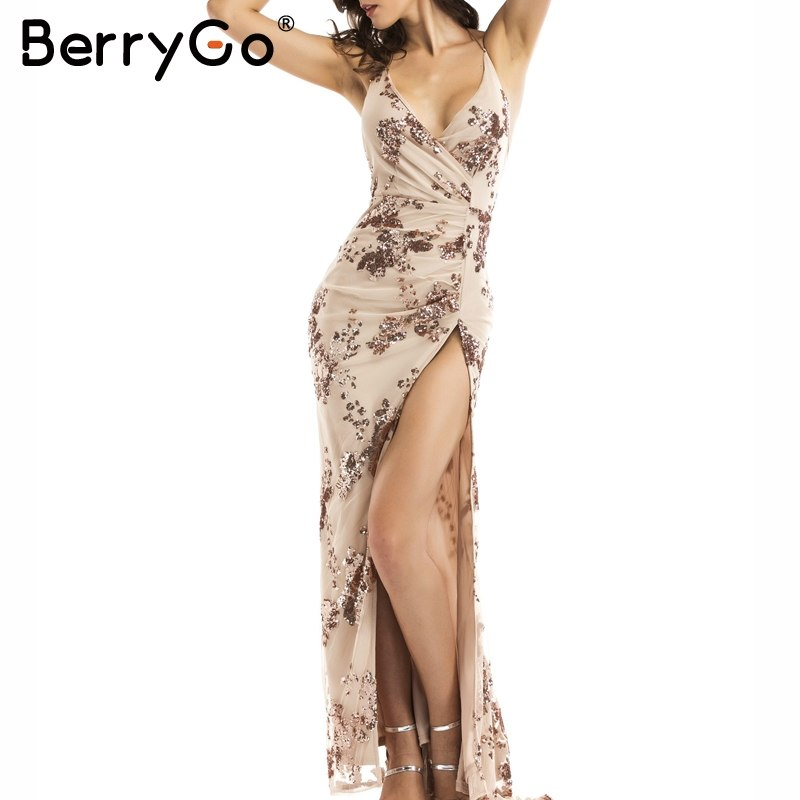 c6e92687 BerryGo Sexy lace up halter sequin party dresses women Backless high split  maxi dress womens clothing