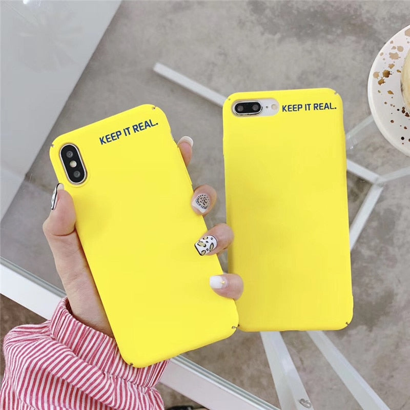 Simple Lemon Yellow Letters Phone Case For iphone XS Max XR X Cover For iphone 6 6s 7 8 plus Fashion Frosted Plastic Cases Capa