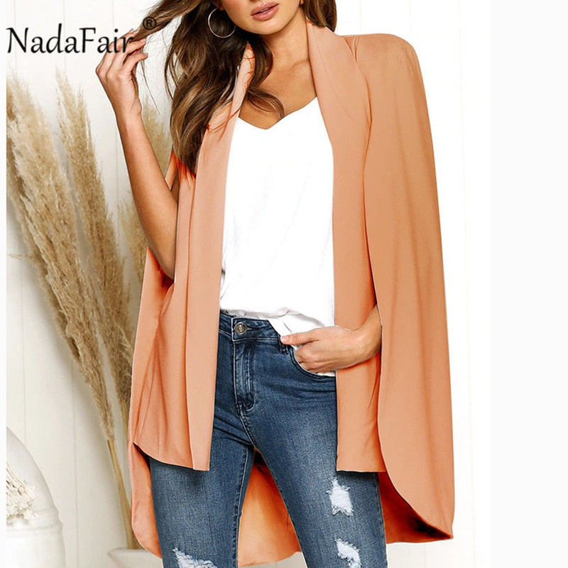Nadafair turn-down cut sleeve collar ponchos coats women fashion autumn loose casual outerwear women formal coats