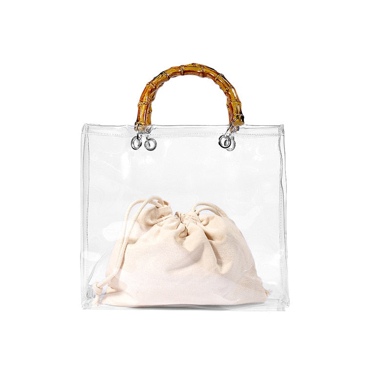 Retro Bamboo Handle Clear Bag Women Handbags Pvc Clear Jelly Bags Lady Bowknot Transparent Jelly Handbags Messenger Bags Purses
