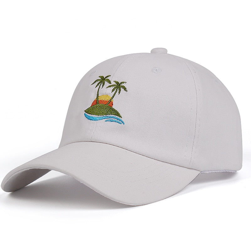 8f2ca3cf 100% Cotton Palm Trees Curved Dad Hat Beach sunrise A holiday Baseball Cap  Coconut Trees