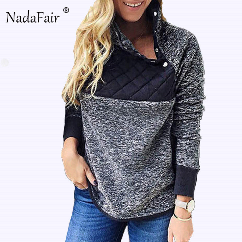 Nadafair winter turtleneck faux fur hoodies women autumn button patchwork warm soft plush sweatshirts oversized hoodie tops