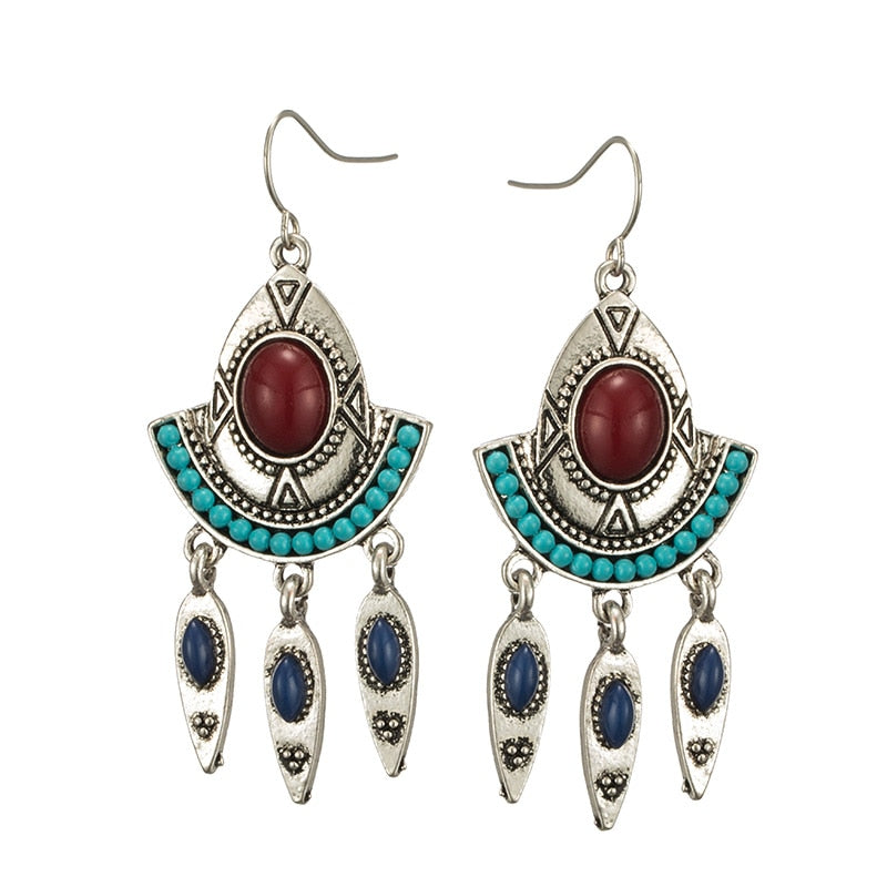 Vintage Ethnic Drop earrings for women Boho Leaves Water Droplets Fan-shaped Beads Beaded Dangle Earring Charm jewelry 2019