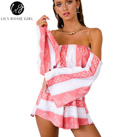 ce06b7cec0f Lily Rosie Girl Sexy Off Shoulder Flare Sleeve Striped Playsuits Women Pink  Backless Summer Beach Party Loose Jumpsuits Rompers