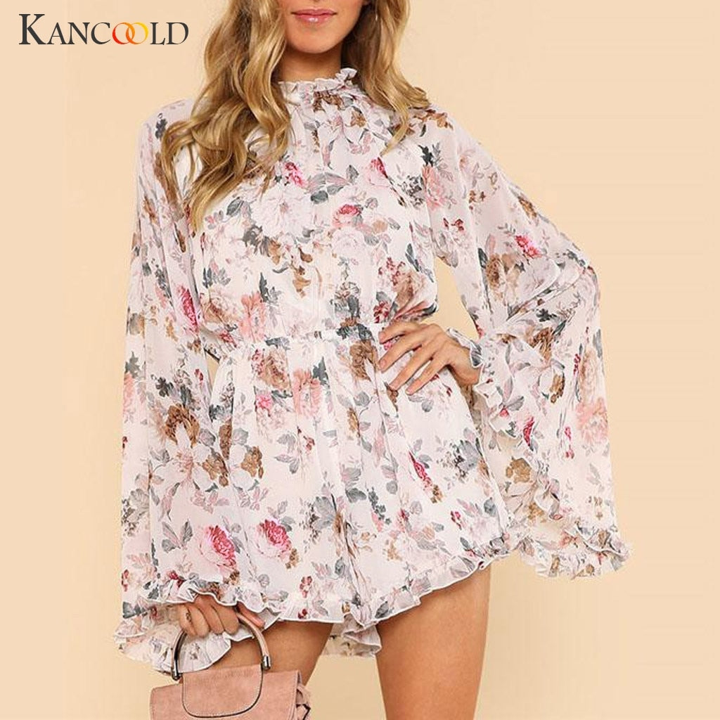 KANCOOLD Jumpsuit Women Summer Holiday Sleeveless Striped Playsuits High Waisted Summer Chiffon Beach jumpsuit sexy 2019JAN4