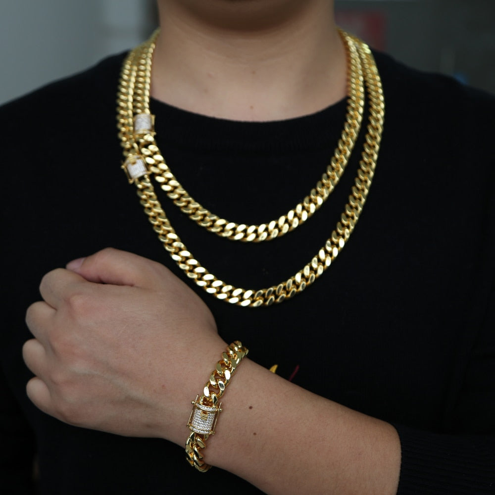 Gold filled Rock hip hop men boy jewelry wide cuban link chain micro pave cz clasp high quality Cool Miami bracelet necklace set