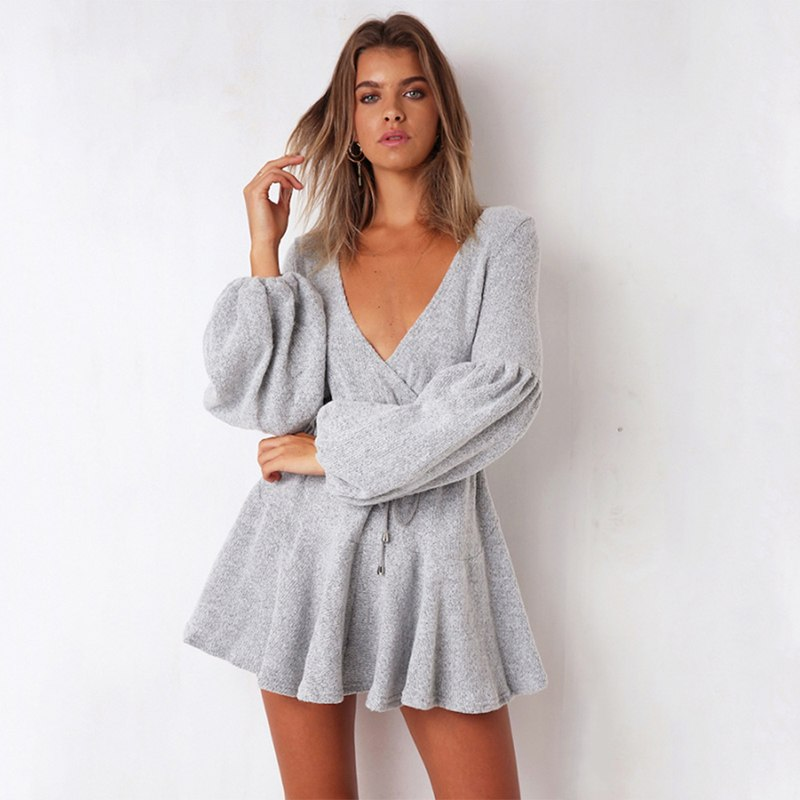 cd27f52d591 DeRuiLaDy Sexy V Neck Long Sleeve Knitted Sweater Mini Dress Women Autumn  White High Waist Loose