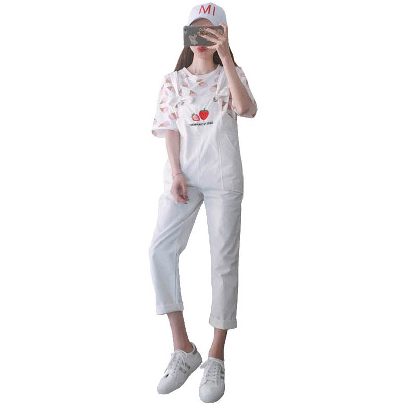 New Women Overalls Jeans Chic BF Style Harajuku Jeans Strawberry Embroidery Cotton Ankle Length Jeans Female #2804