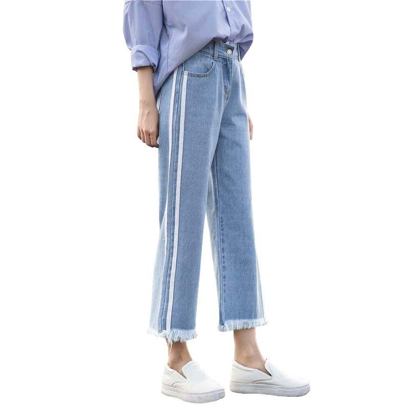 New Women Denim Jeans Harajuku Loose Ankle Length Jeans High Waist Cotton Wide Leg Jeans Female #8854