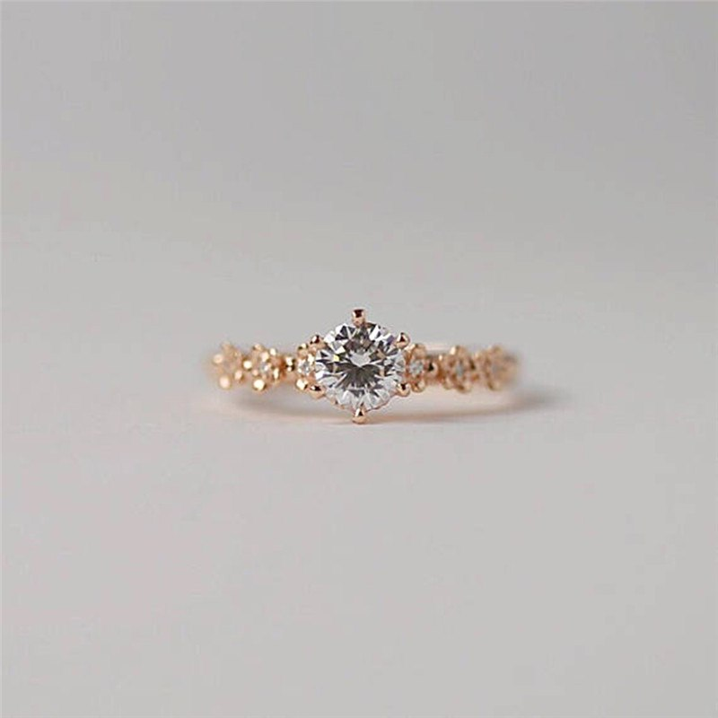 be21a7b528 ROMAD Rose Gold Flower Solitaire Ring for Bride Engagement Finger Rings  Promise Wedding Statement Rings Rose
