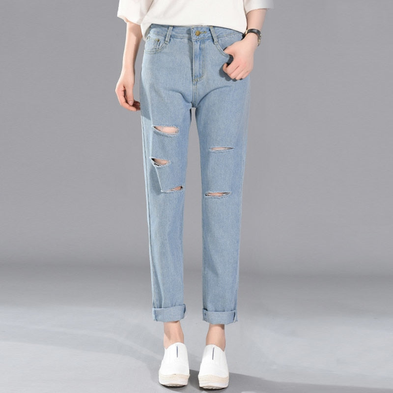 New Women Denim Jeans High Waist Cotton Jeans Ankle Length Jeans Pants Pleated Hole Ripped Harajuku Jeans #9525