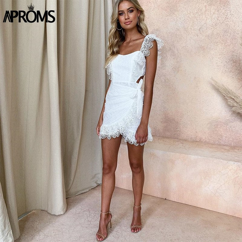 16d658992bdf Aproms White Lace Embroidery Women Summer Dress 2019 Sexy Backless Lining  Bodycon Short Mini Dresses Party