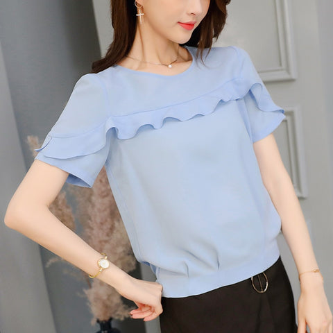 0b8edaf29d6c1 O-Neck Short Sleeve Casual Chiffon Blouse Summer 2019 Korean Blue Shirt  Ruffles Women Clothes Streetwear Slim Shirt Ladies Tops
