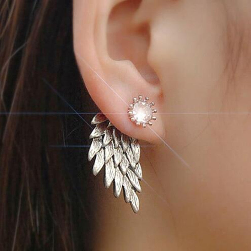 E065 Women's Vintage Punk Style Crystal Angel Wings Alloy Stud Earrings Fashion Jewelry For Party Wholesale Hot Sale 2 Colors