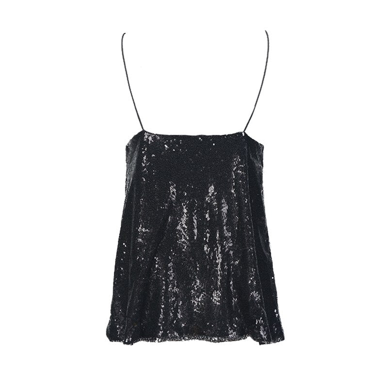 3c5141c0fa Glitter Mermaid Sequin Sleeveless Tank Spaghetti Straps Party Sexy Loose  Solid Shiny Short Tops For Women