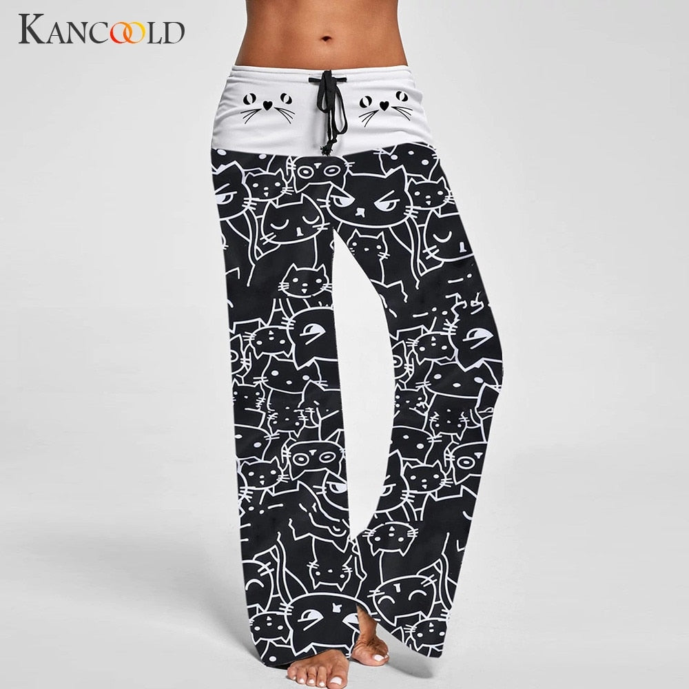 KANCOOLD Pants Women Casual New Fashion Cat Prints Drawstring Pants Leggings wide leg Beach pants woman 2019jan14