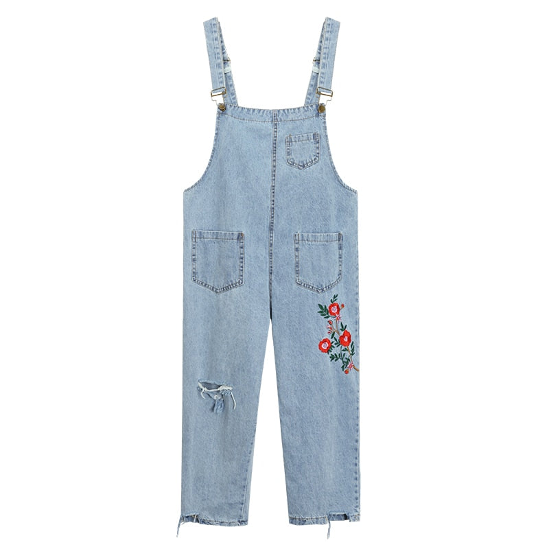 Jeans For Women Harajuku Sweet Overalls Flowers Embroidery Jeans Loose Hole Ripped Jeans Female #802