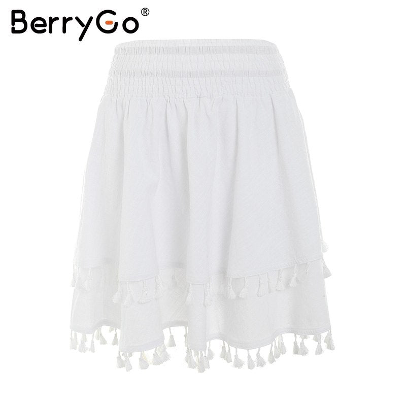 af0752634fa8 BerryGo Stripe tassel summer mini skirts womens Elastic streetwear short  skirt girl Casual white beach high