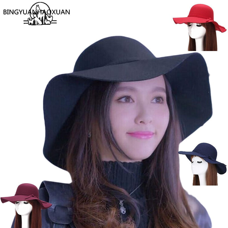 BINGYUANHAOXUAN 2017 New Style Soft Women Vintage Wide Brim Wool Felt Bowler Fedora Hat Floppy Cloche Women's Large Jazz Hats