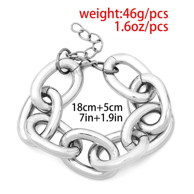 66672626346 DIEZI Retro Punk Exaggerated Metal Link Chain Necklace Female Simple Chain  Geometric Personality Necklace 2019 New