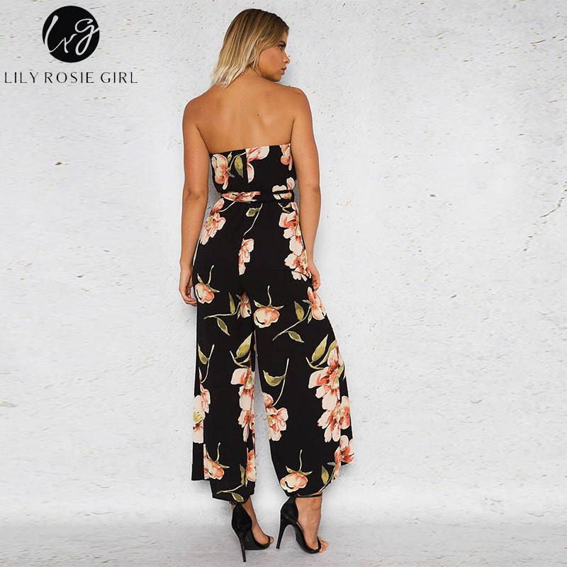 2bfc72bc6b755 Lily Rosie Girl Overalls For Women Jumpsuits Sexy Off Shoulder Backless  Boho Floral Print Strapless Playsuits with Belts Rompers