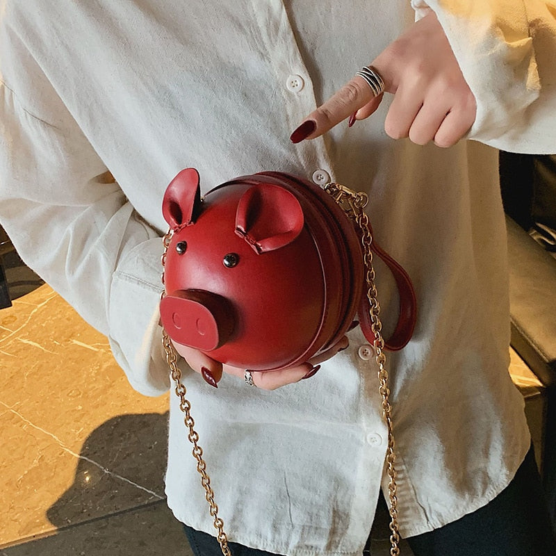 Fashion Pu Leather Women Crossbody Bag Pig Small Round Bag Chain Female Shoulder Messenger Bag Wrist Bag Party Clutch Coin Purse