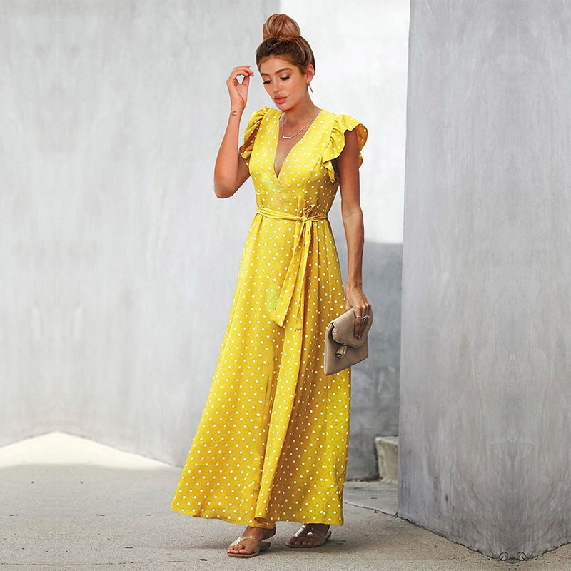 41a8df50f3fd3 Summer Dress Women 2019 Sexy V-Neck A-Line Sashes Dot Black Beach Party  Dresses Elegant Short Sleeve Maxi Dress Vestidos