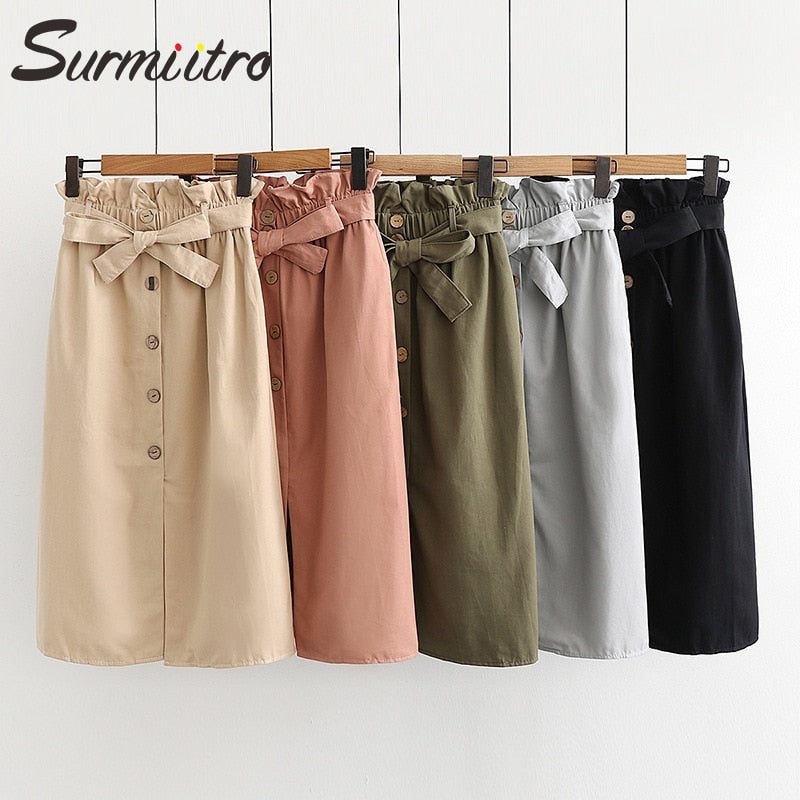Surmiitro Midi Long Skirt Women 2019 Spring Summer Split Korean Elegant High Waist  Blue Red Green Black School Skirt Female